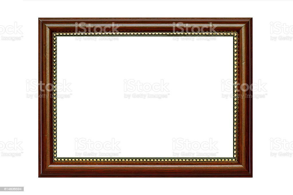 Wooden picture frame isolated on white. stock photo