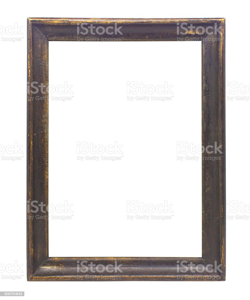 wooden picture frame   on white background stock photo