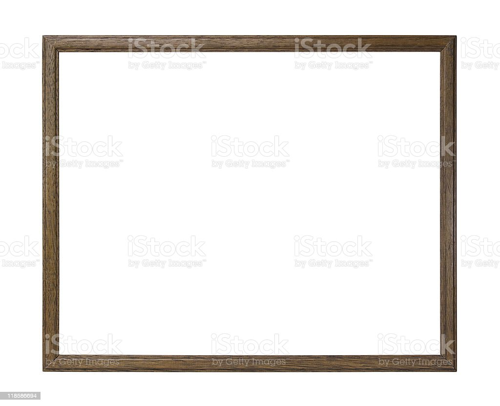 Wooden picture frame with clipping path stock photo
