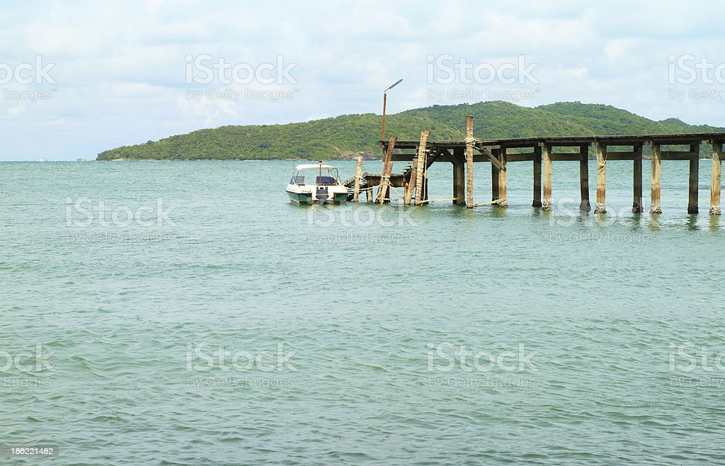 wooden pier and boat parking royalty-free stock photo