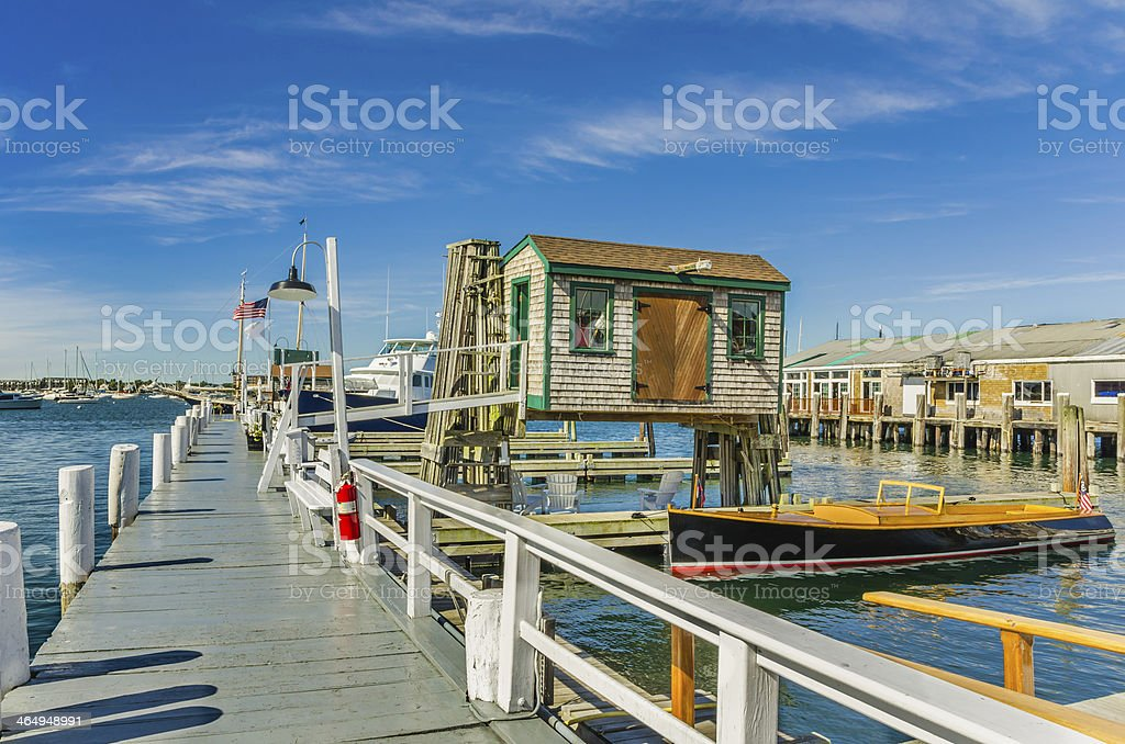 Wooden Pier and Fishing Shed stock photo