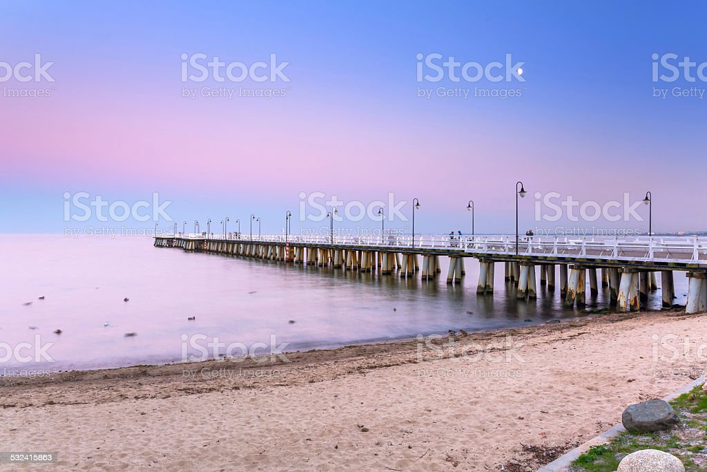 Wooden pier at Baltic sea in Gdynia stock photo