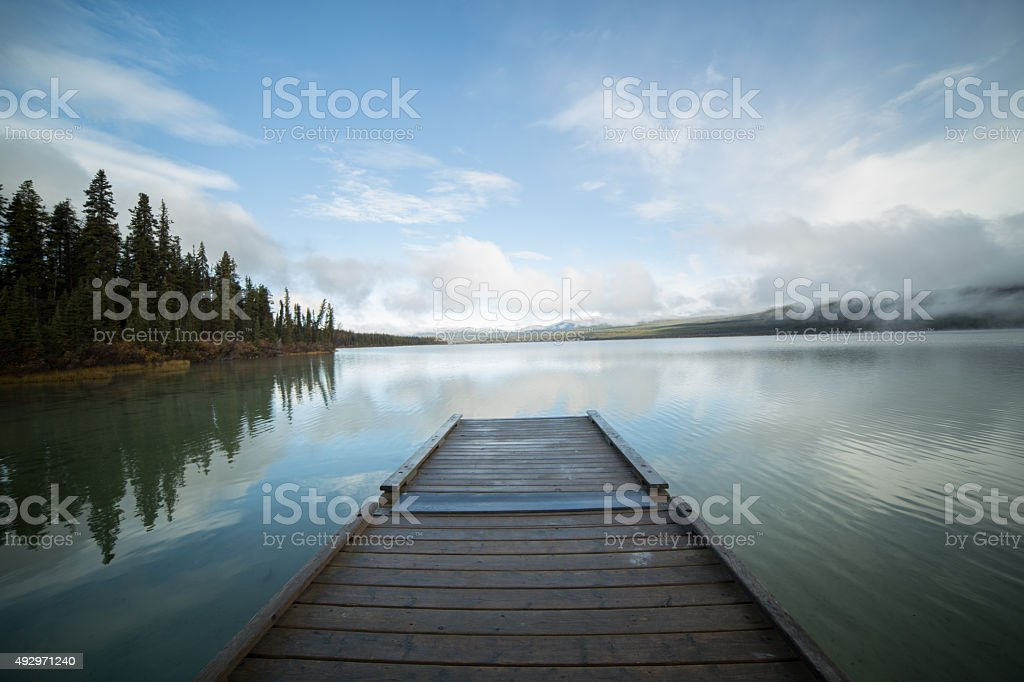 Wooden pier in Canada stock photo