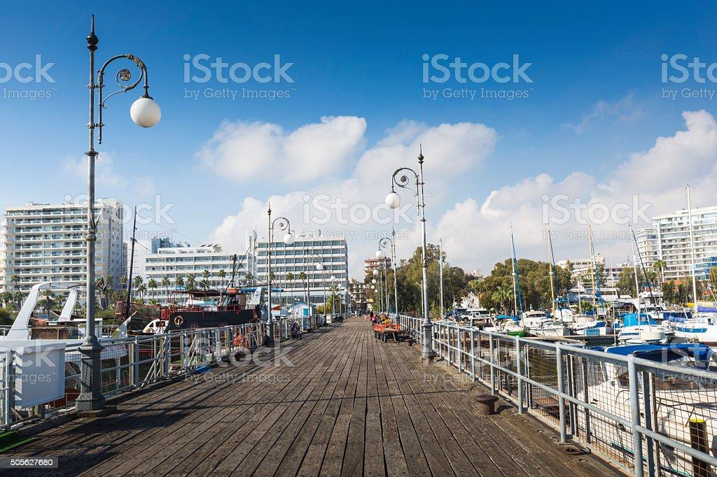 Wooden pier in Larnaca port, Cyprus. stock photo