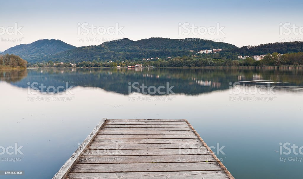 Wooden Pier In Northern Italy royalty-free stock photo