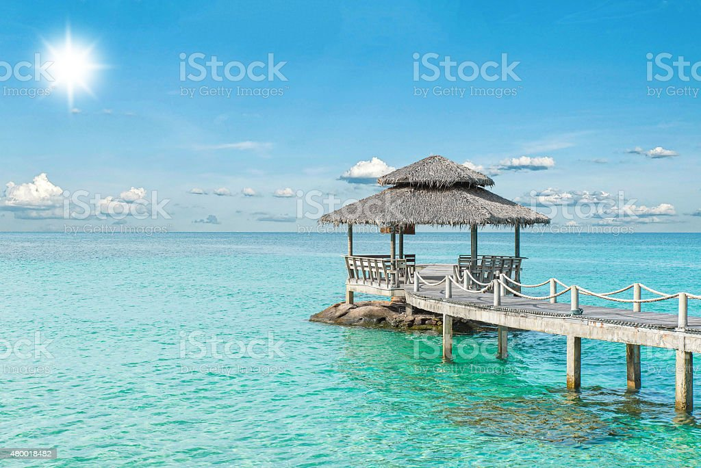 Wooden pier in Phuket, Thailand stock photo