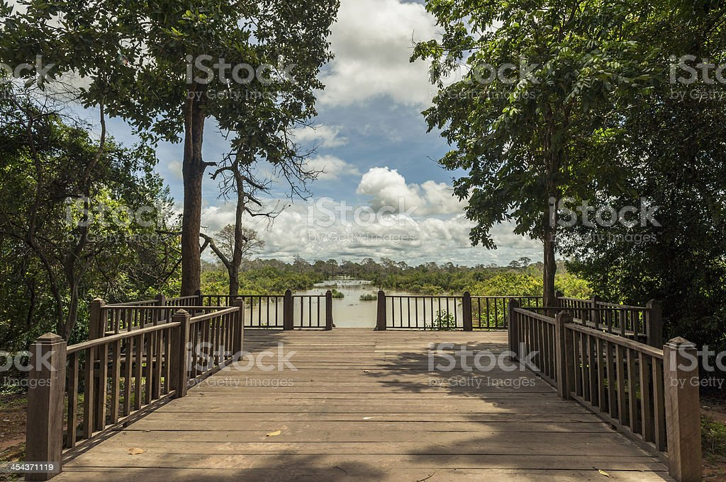 wooden pier in the lake at Angkor, Cambodia stock photo