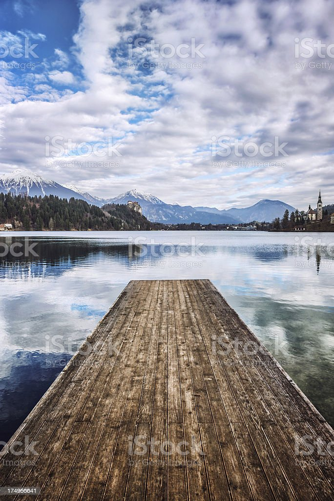Wooden Pier in the Middle of Lake Bled, Slovenia royalty-free stock photo