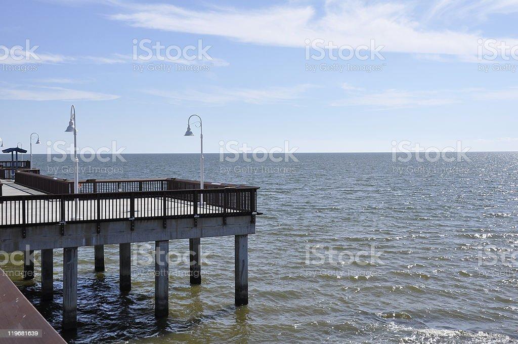 wooden pier in Waveland, Mississippi stock photo