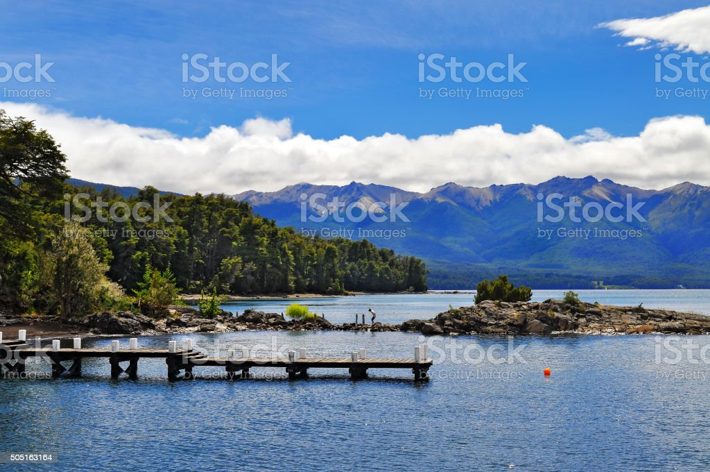 Wooden pier in Wooden pier in Los Arrayanes National Park stock photo