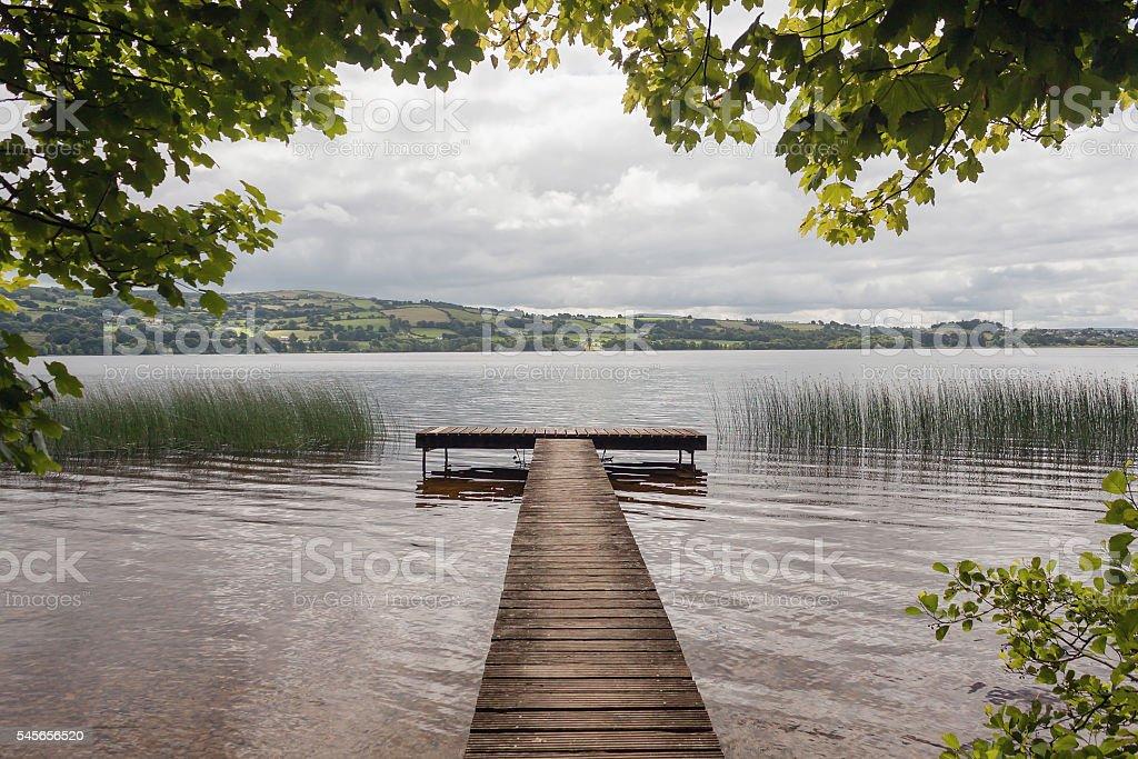 Wooden pier, Lough Derg lake, River Shannon, Ireland stock photo