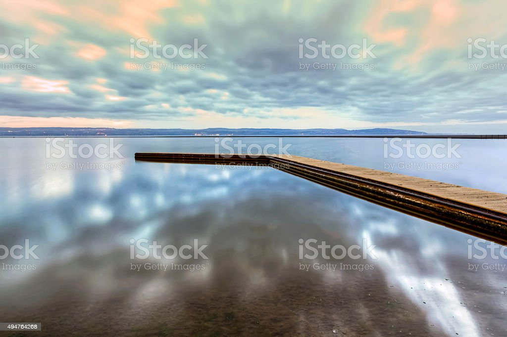 Wooden Pier, Marine Lake, West Kirkby, Wirral stock photo