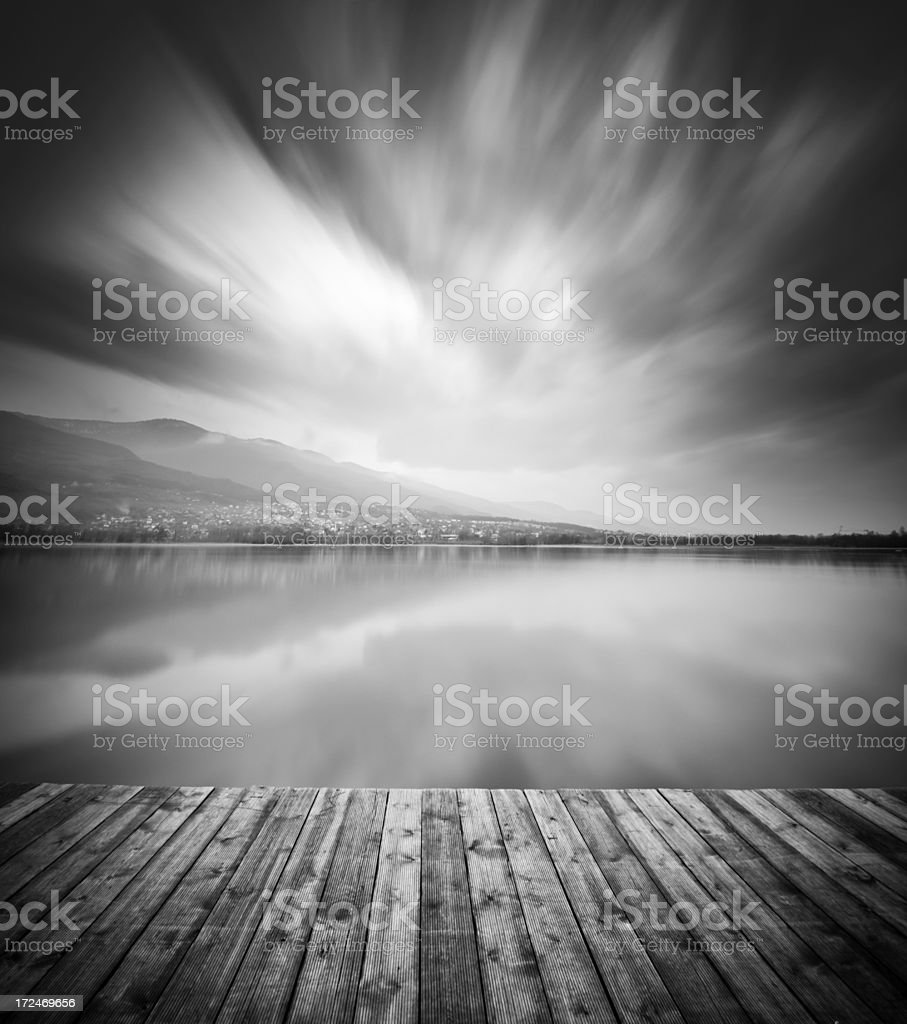 Wooden Pier on Lake royalty-free stock photo