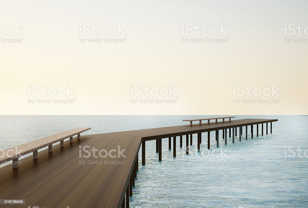 Wooden pier On The beach and Natural Seascape stock photo