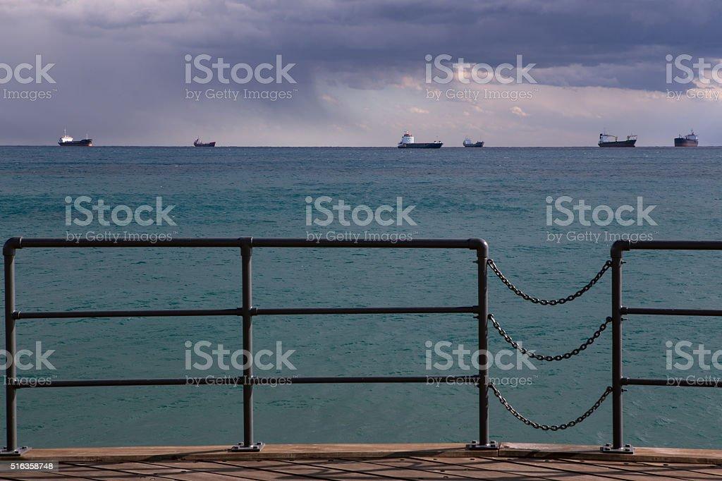 Wooden pier on the beach. stock photo