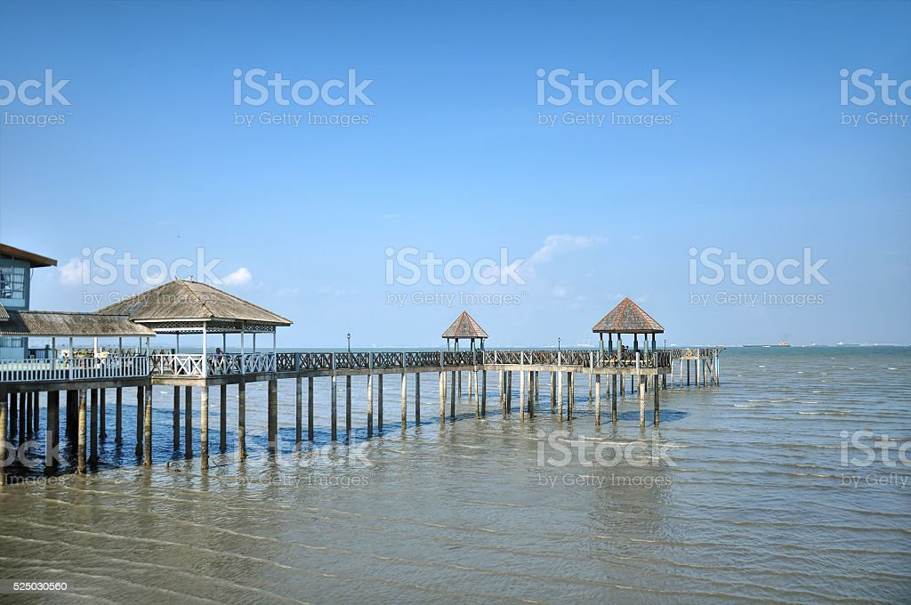 Wooden pier on the lake, Johor, Malaysia stock photo