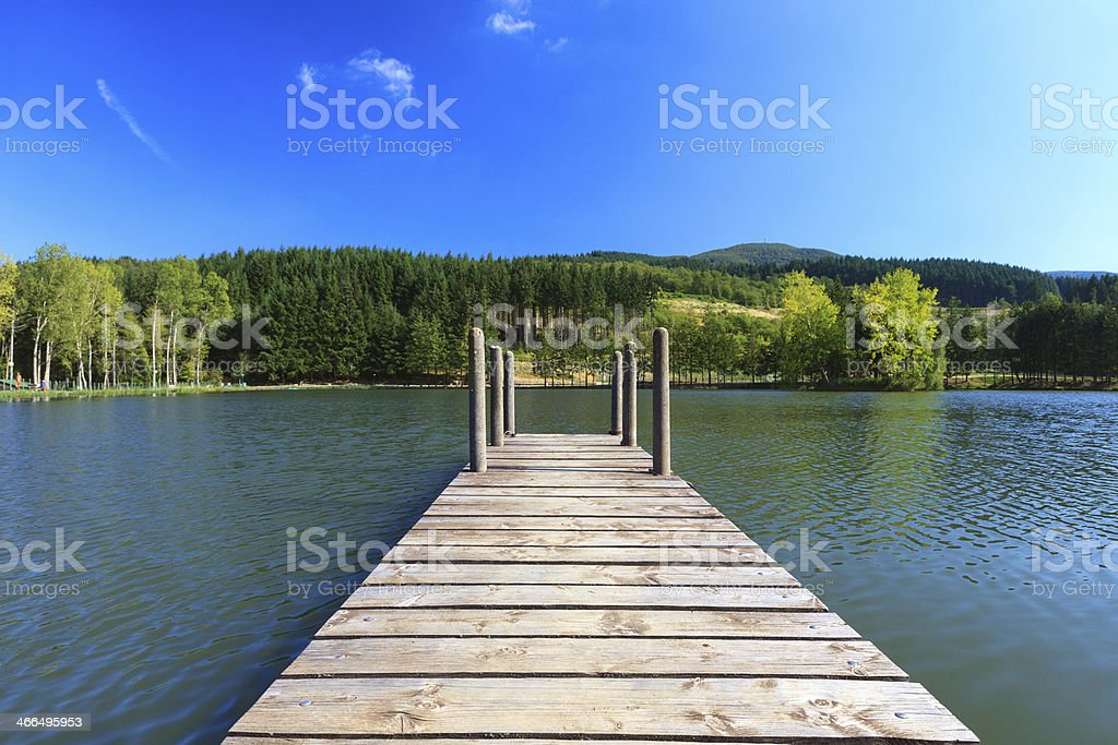 Wooden pier on the lake royalty-free stock photo