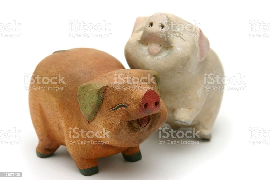 Wooden pigs royalty-free stock photo