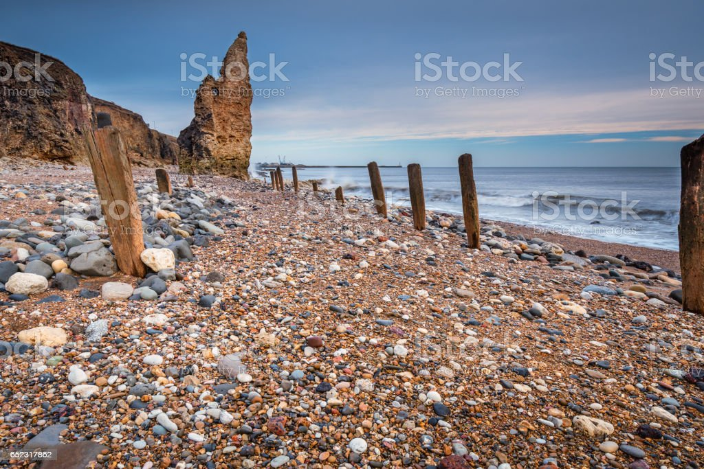 Wooden Piles on Chemical Beach stock photo