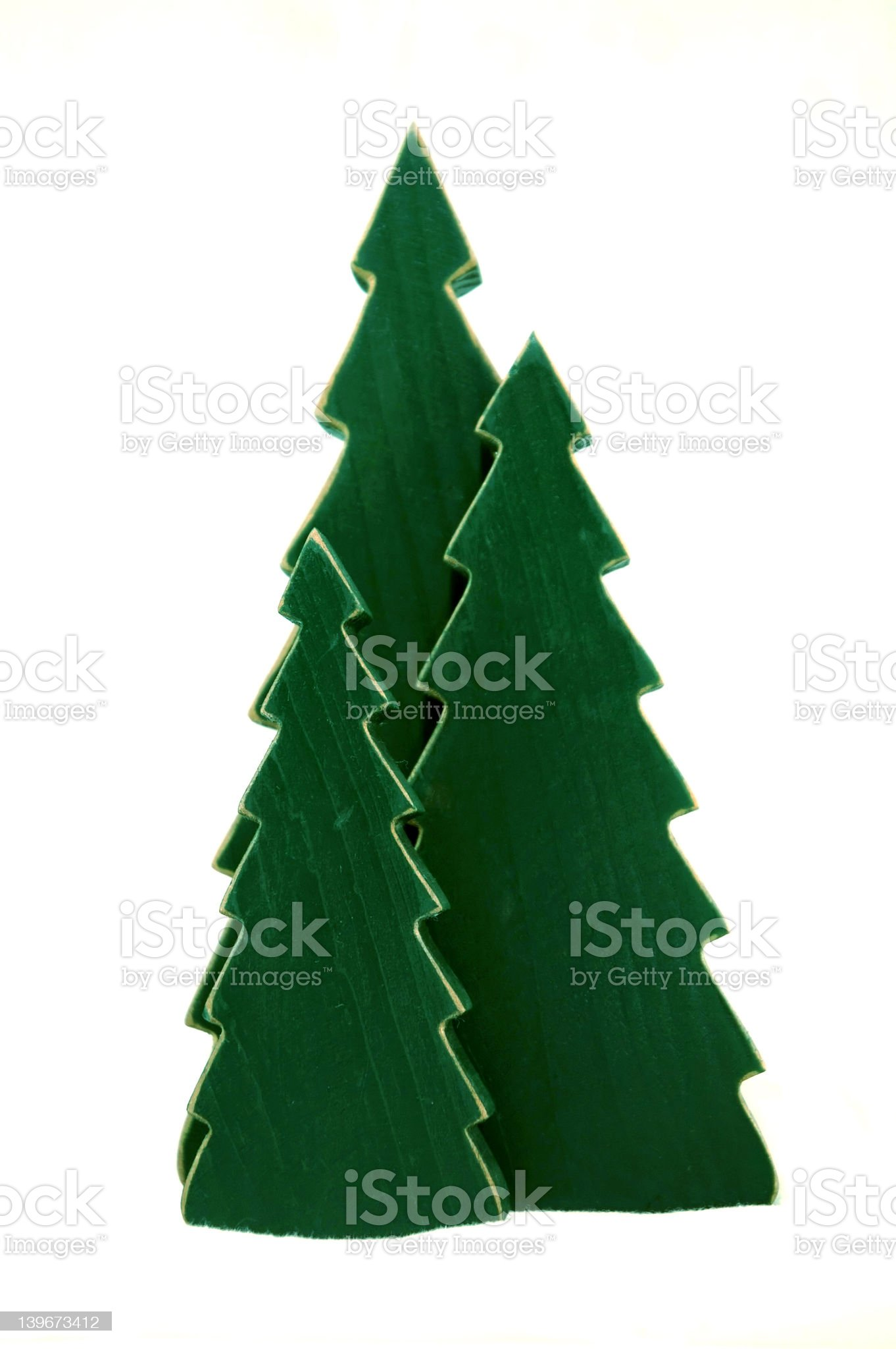 Wooden Pine Trees with Snow Effect royalty-free stock photo
