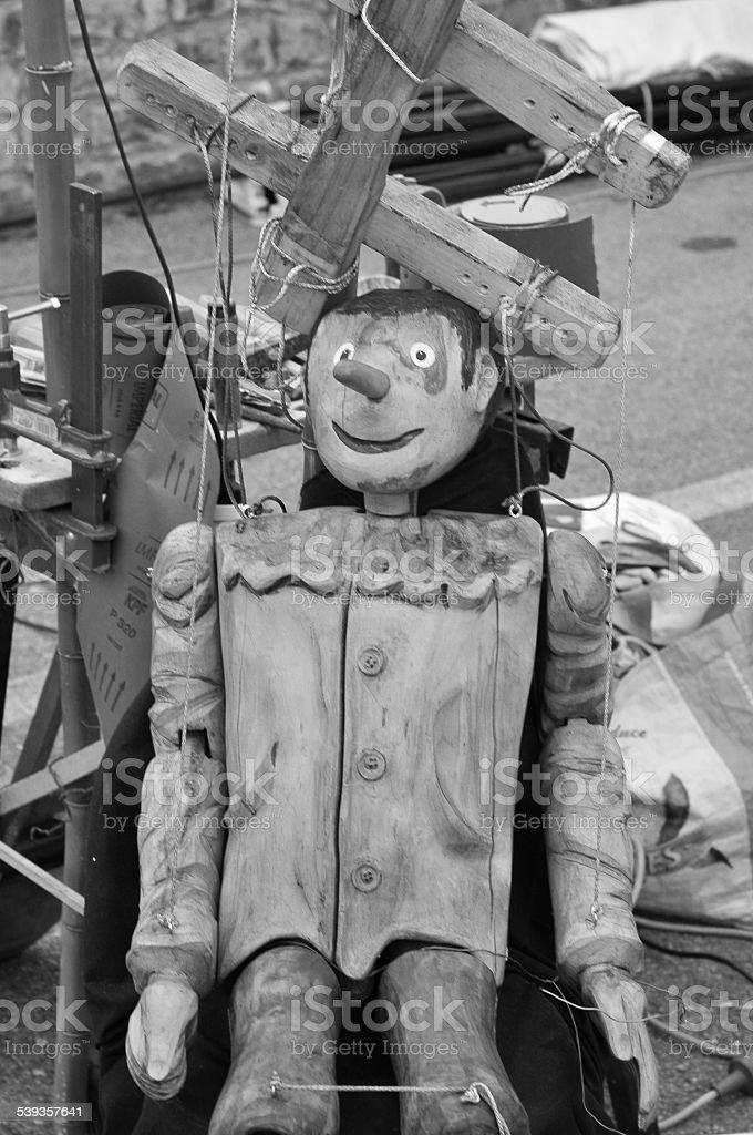 Wooden Pinocchio stock photo