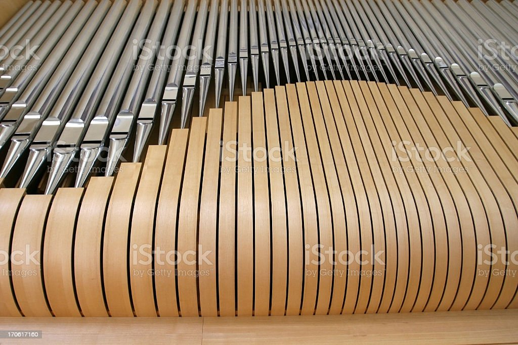 wooden pipe organ close up stock photo