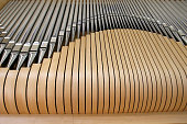 wooden pipe organ close up