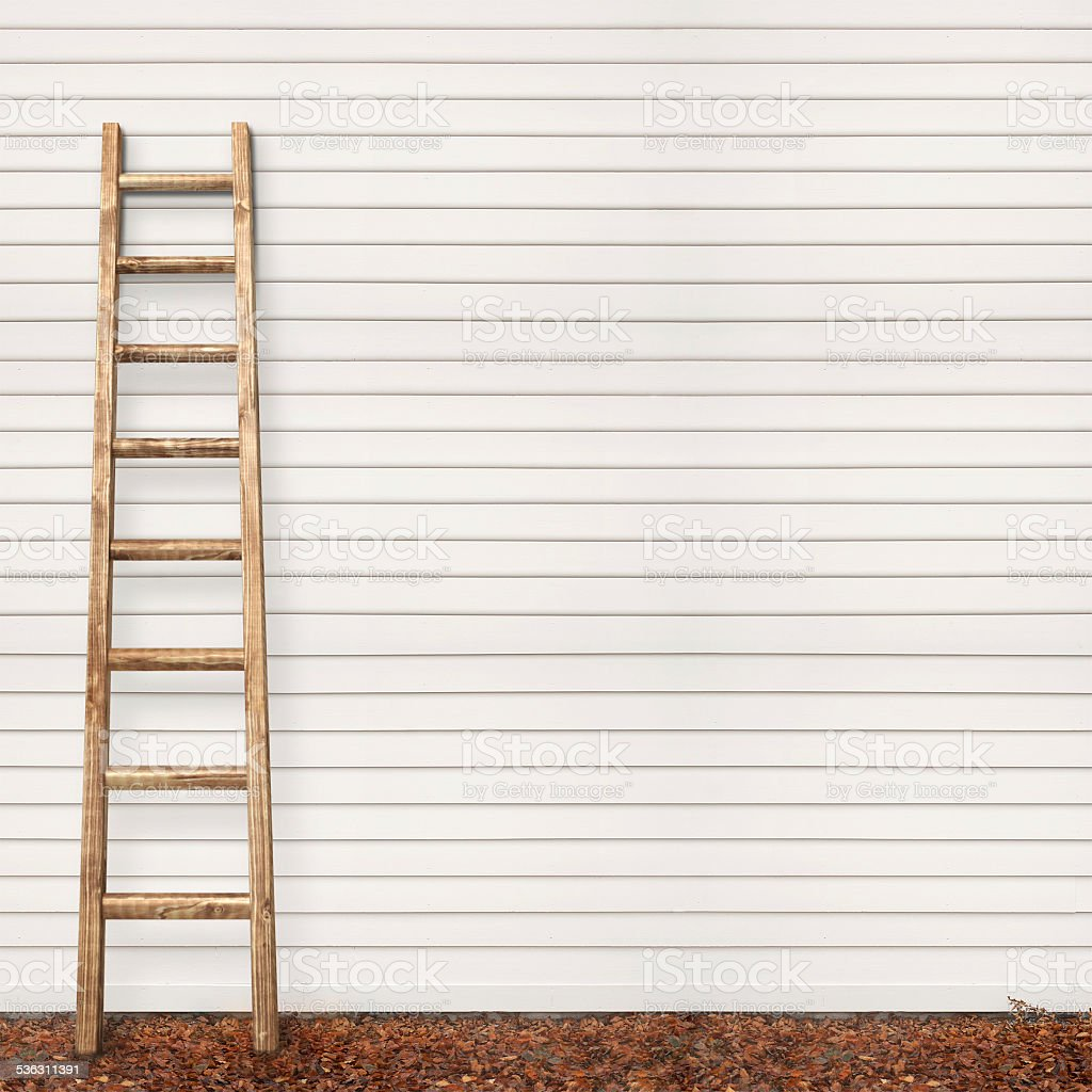 wooden plank wall, ground covered with leaves stock photo