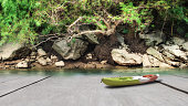 Wooden plank with kayak boat and rainforest background