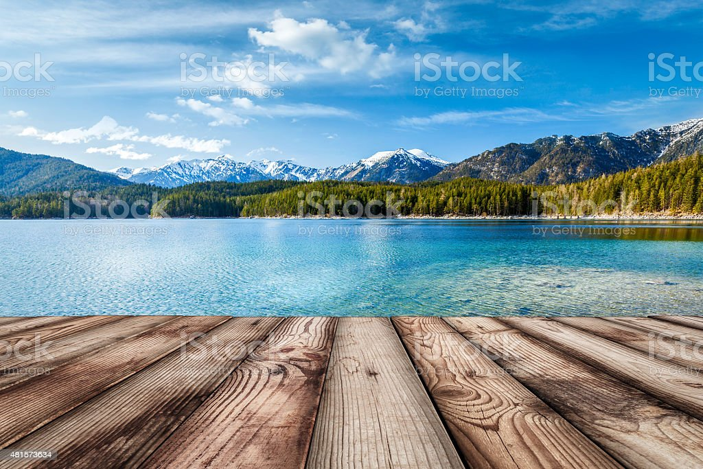Wooden planks background with lake, Germany stock photo