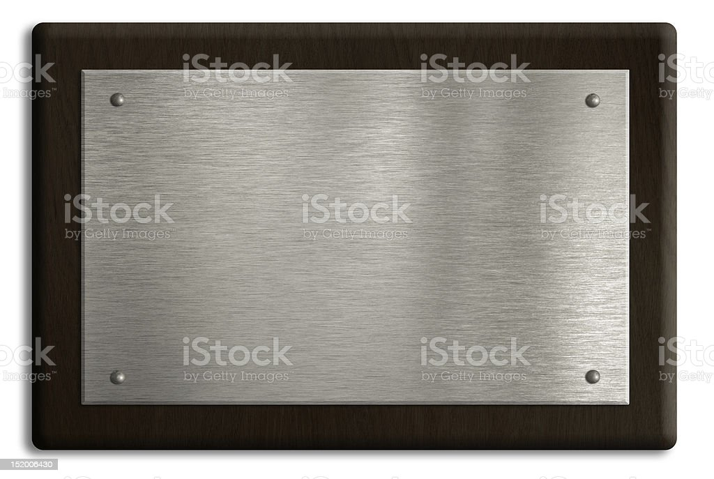 Wooden plaque with silver plate isolated on white. Clipping path stock photo