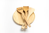 Wooden plate or tray with flippers or spades isolated