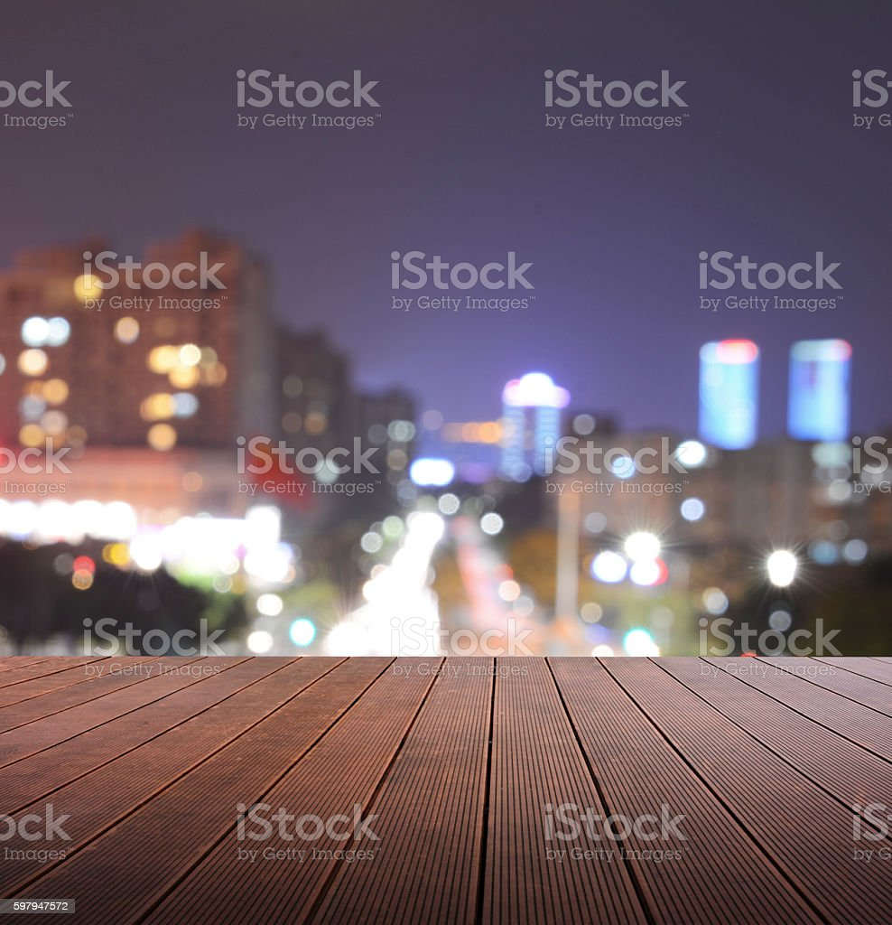 Wooden platform and defocus background. stock photo