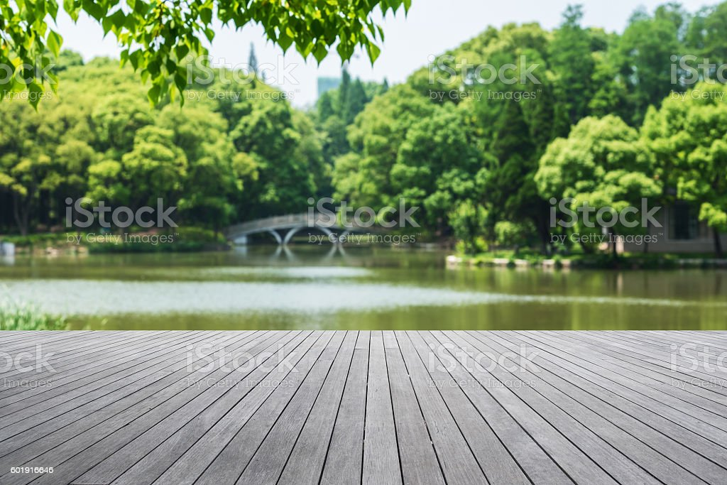 Wooden platform beside lake stock photo
