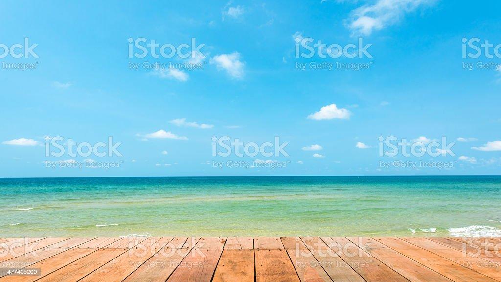 Wooden platform beside tropical beach at Koh Chang island ,Thailand stock photo