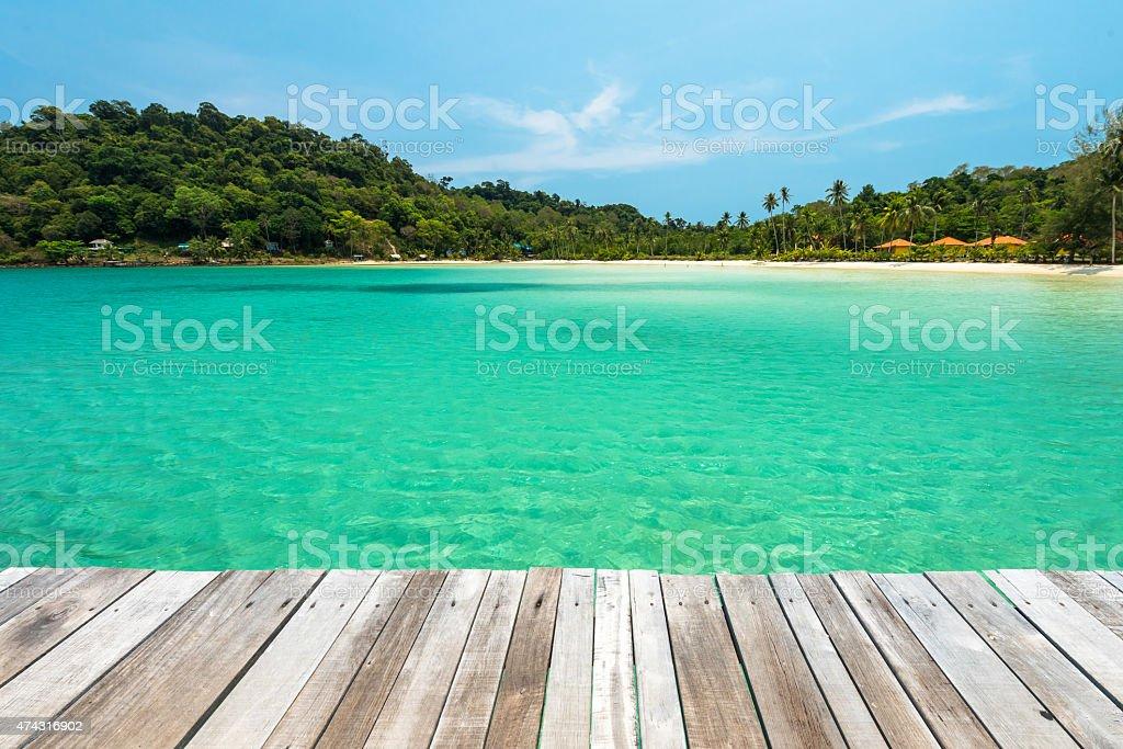 Wooden platform beside tropical beach at Koh Kood island  Thailand stock photo