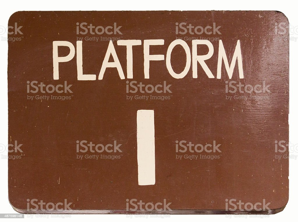 Wooden Platform One Sign stock photo