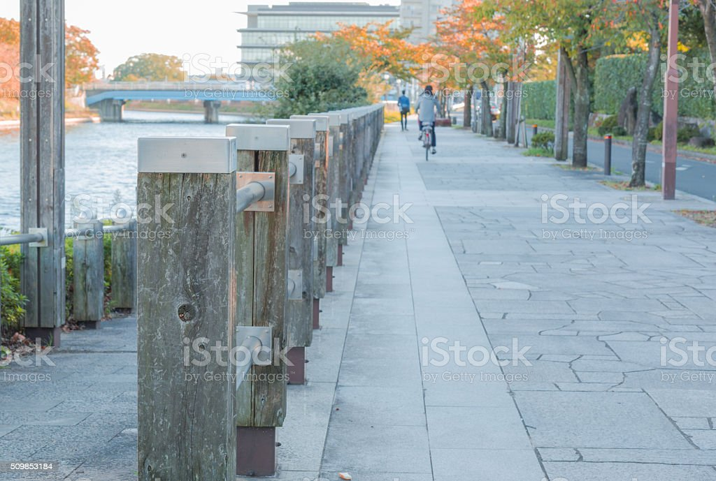 Wooden poles lined the streets. stock photo