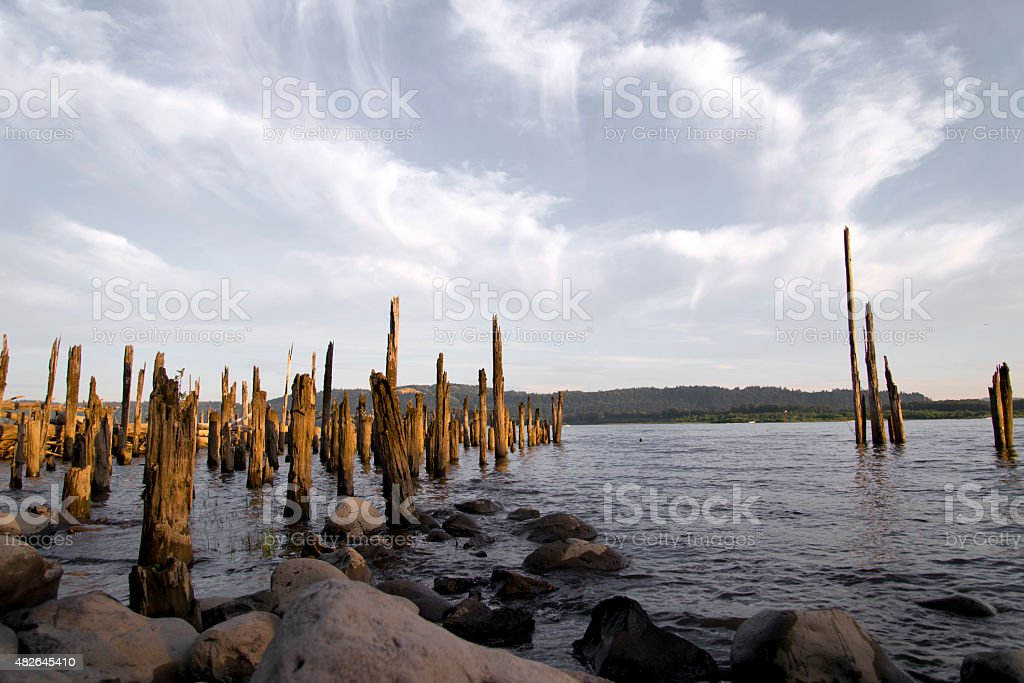 Wooden poles old pier destroyed by time boulders Columbia River stock photo