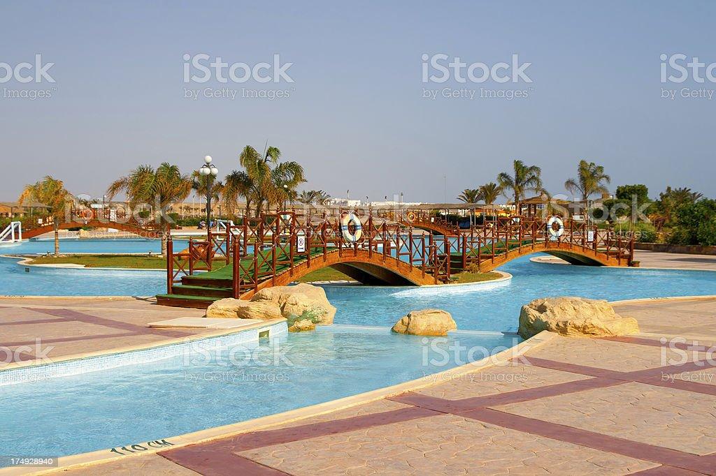 Wooden Pool bridge royalty-free stock photo