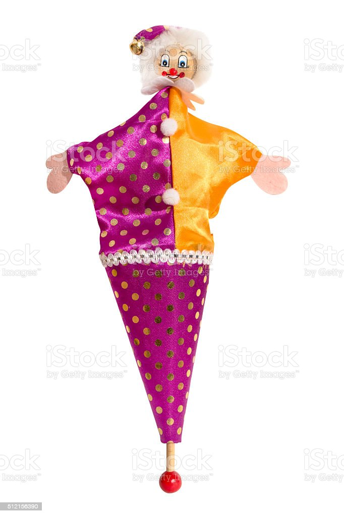Wooden Pop Up Cone Puppets Jester Clown Isolated stock photo