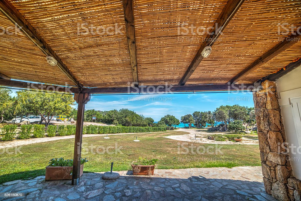 wooden porch in Rena Bianca stock photo