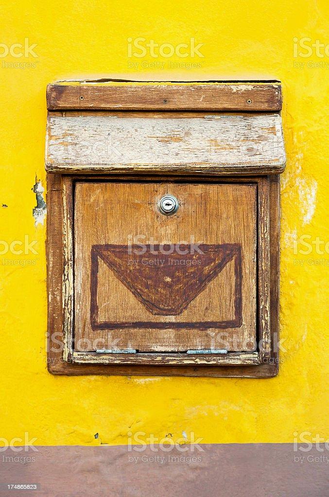 Wooden post box on the island of La Gomera stock photo