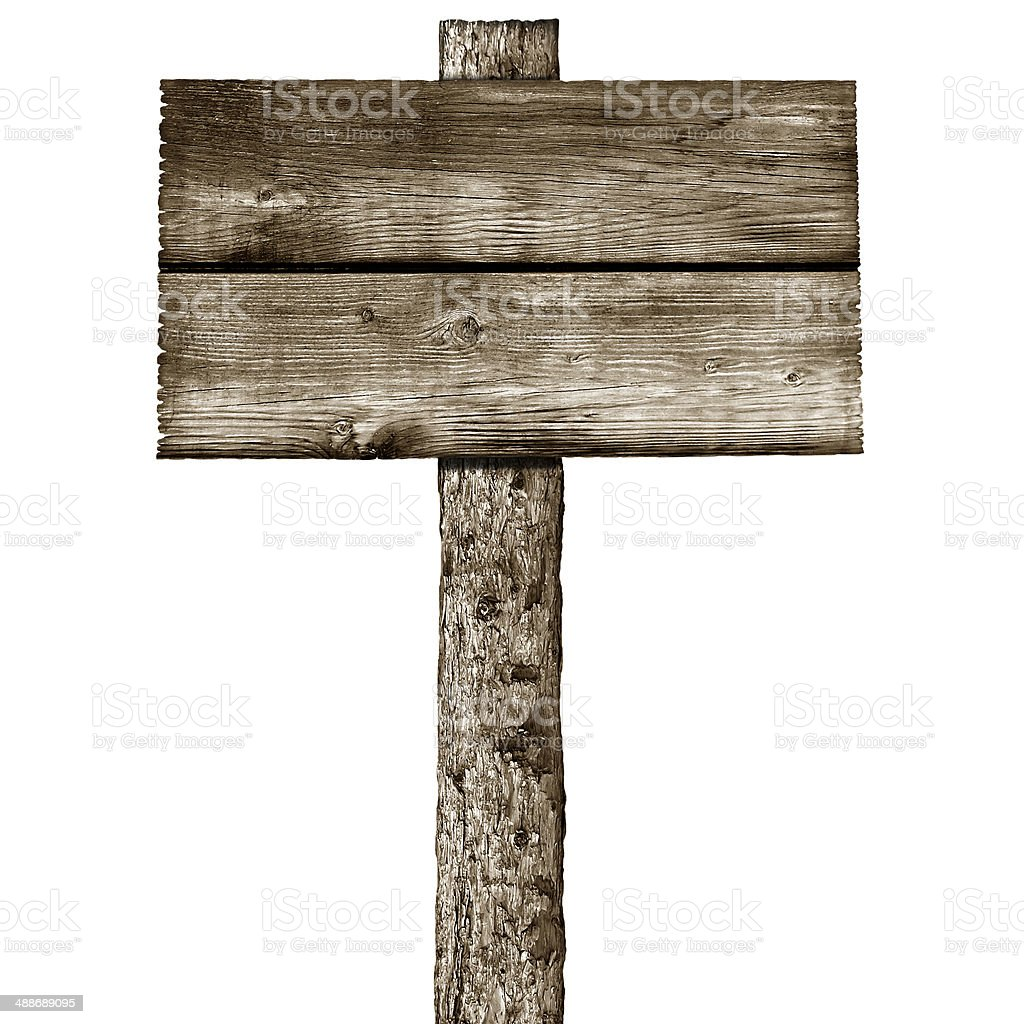 wooden post with signboard stock photo