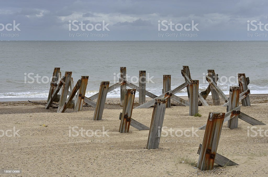 Wooden posts on beach royalty-free stock photo