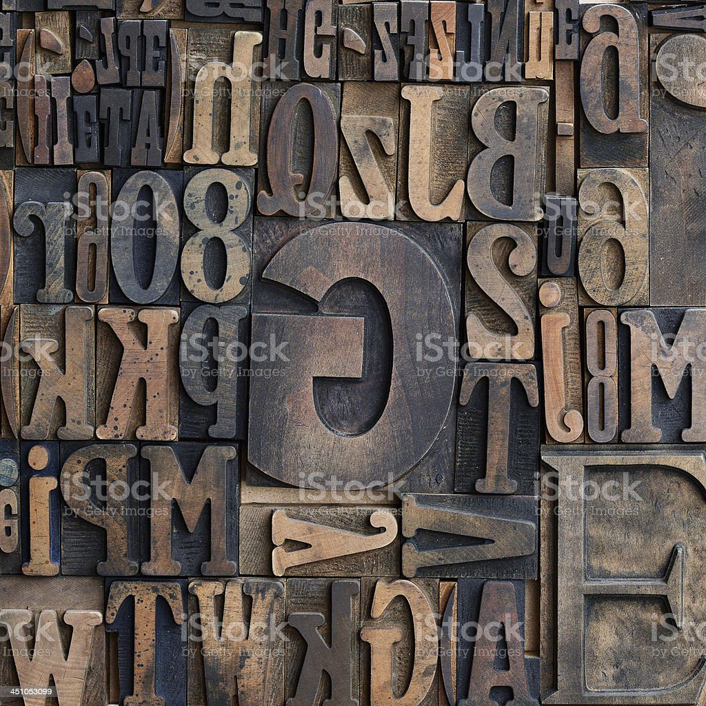Wooden printers typeface letters stock photo