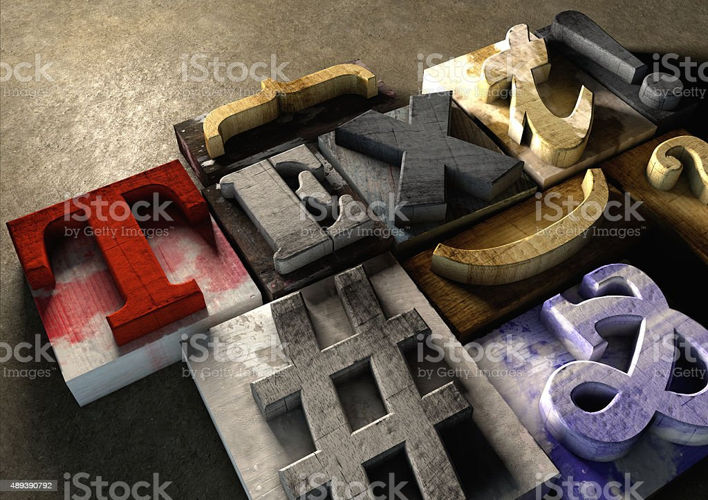 Wooden printing blocks form word 'Text'' writing blog stock photo