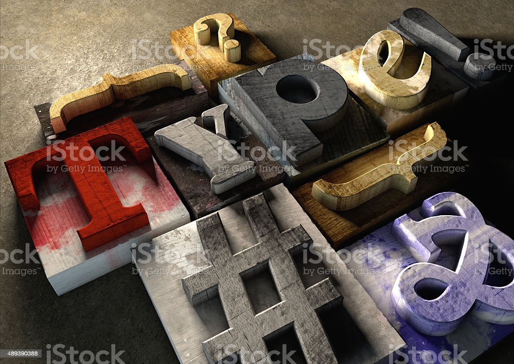 Wooden printing blocks form word 'Type'. Graphic look at type stock photo