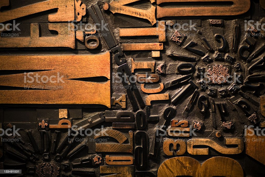Wooden printing letters royalty-free stock photo