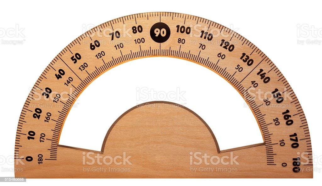 Wooden protractor isolated stock photo